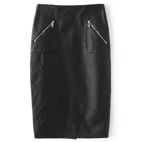 pu leather zipper embellished pencil skirt in black