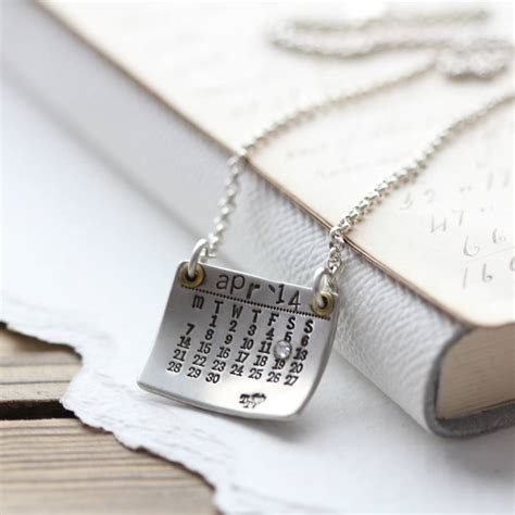 personalised silver calendar necklace by