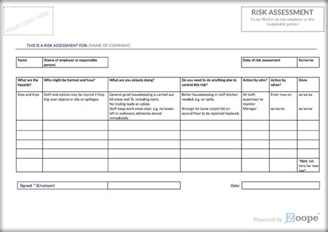 Risk Assessment Template Zoope Free Risk Assessment Template