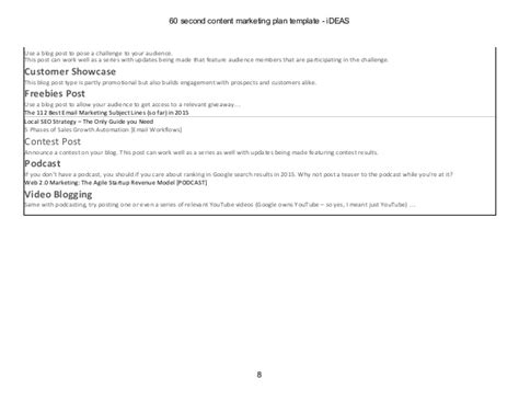 60 Second Content Marketing Plan Template Content Marketing Plan Template