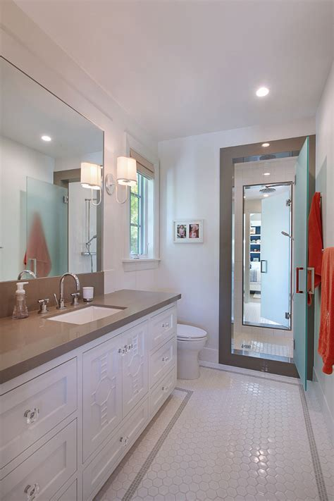 homes with jack and jill bathroom california family home with transitional coastal interiors