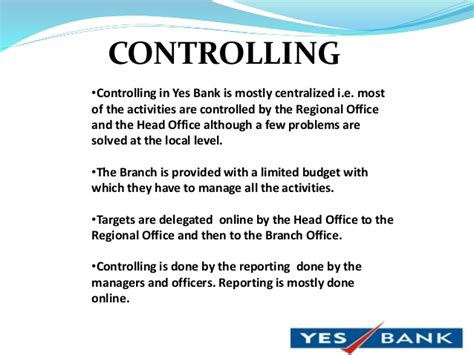 controlling bank yes bank ppt