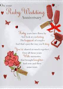 ruby 40th anniversary greeting card cards kates