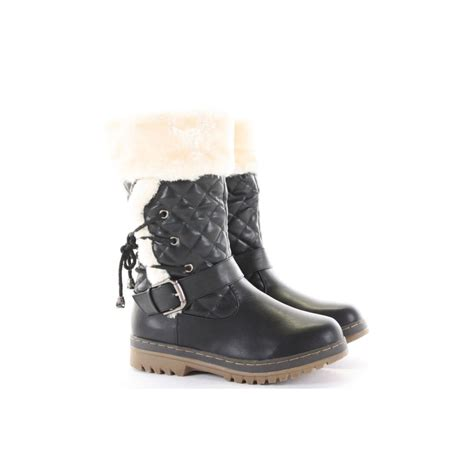 black quilted fur side buckle snow boots from parisia