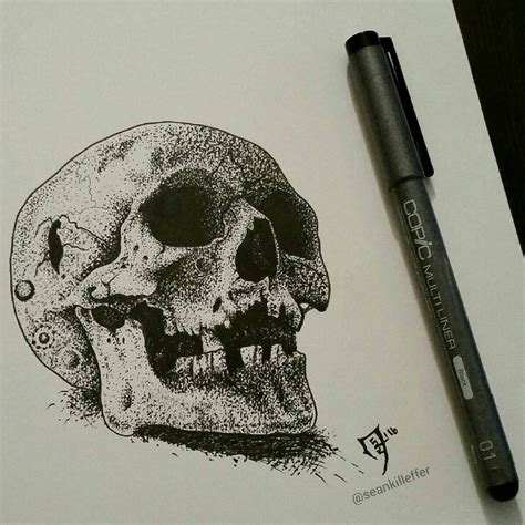 skull dot art by seankilleffer on deviantart