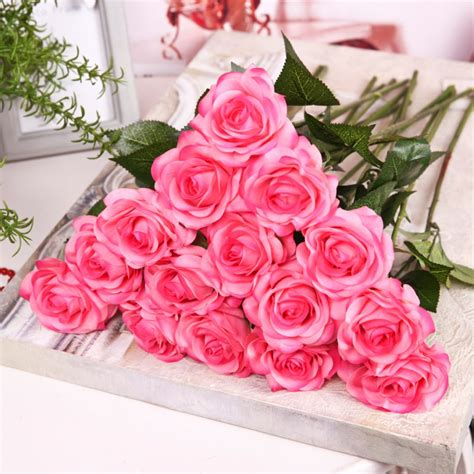 fake flowers home decor artificial fake silk flowers leaf peony floral wedding