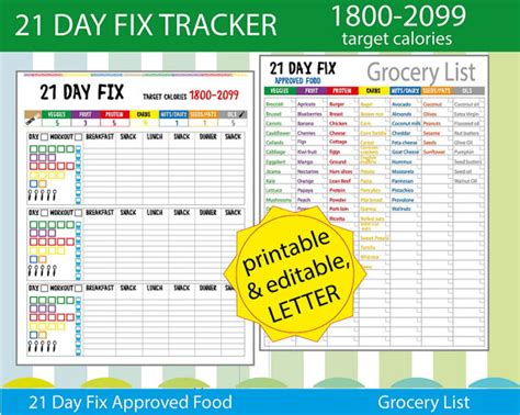 21 Day Fix Spreadsheet by 21 Day Fix Tracking Sheet 21 Day Fix Log By