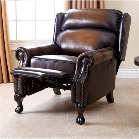 abbyson living recliner abbyson living veda hand rubbed leather recliner in brown