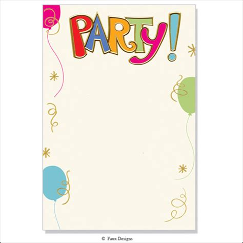 free birthday invitation card templates best photos of birthday invitation blank templates free