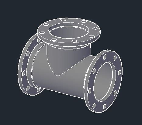 Tees 3d flanged 3d dwg model for autocad designs cad