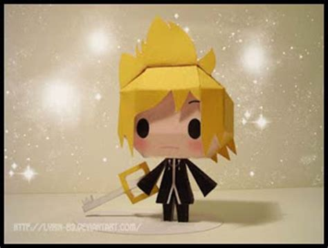 Kingdom Hearts Papercraft - kingdom hearts papercraft chibi roxas paperkraft net