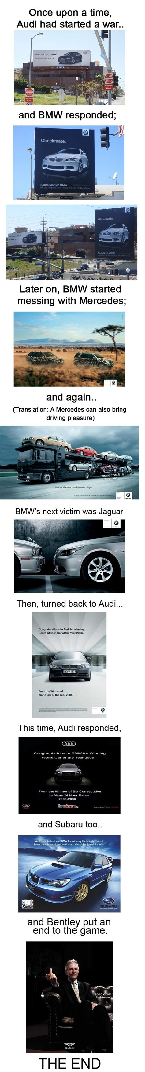 used bentley ad audi started an ad war bmw took it everywhere bentley