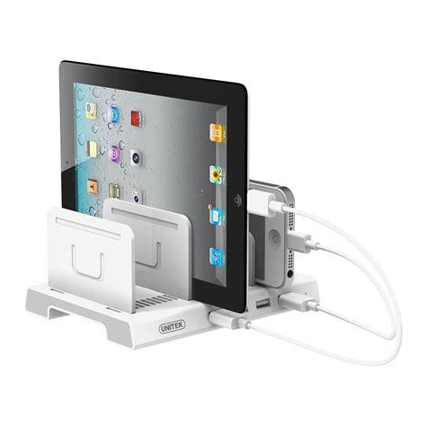 smartphone charging station transitional desk unitek universal multi device 4 port usb charging station