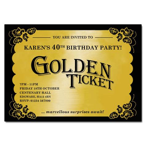 golden ticket invitation template golden ticket template images