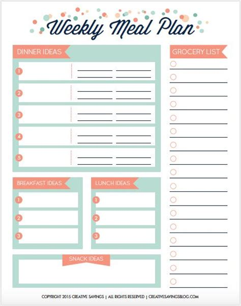 easy printable meal planner 1000 ideas about meal planning printable on pinterest