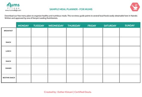 printable meal planner for baby mum baby mumsvillage mumsvillage