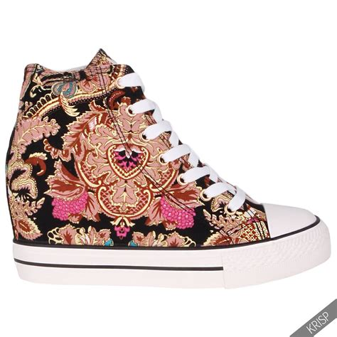 canvas high heels womens gem canvas high heel wedge trainers sneakers low