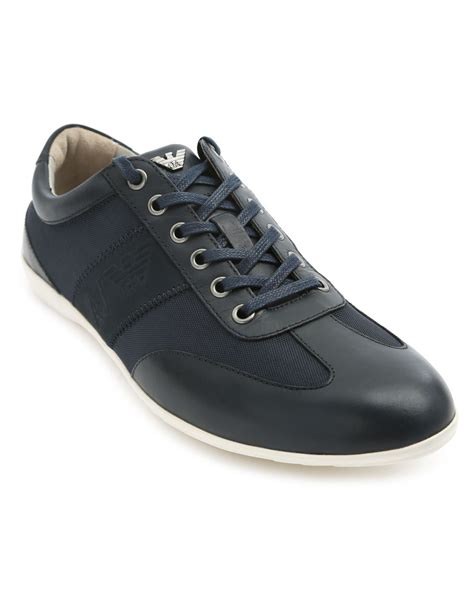 armani sneakers mens armani logo navy sneakers in blue for navy lyst