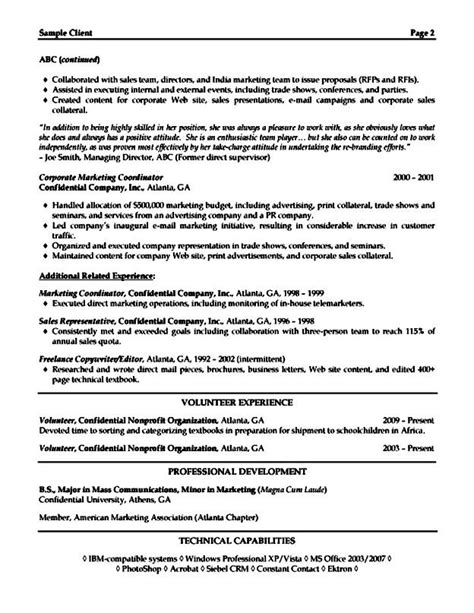 sle resume for marketing executive free sles