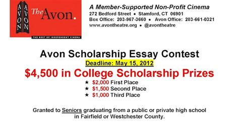 Scholarship Essay Contest Exles stamford downtown events avon essay contest