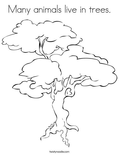 animals   trees coloring page twisty noodle