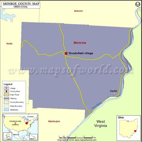 monroe county map map  monroe county ohio