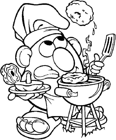 Mr Potato Coloring Pages Cooking And Bathing Mrs Potato Coloring Pages
