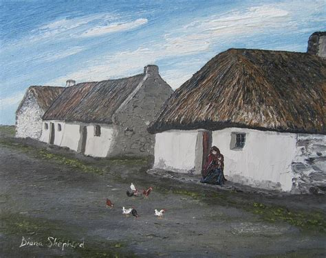 shamrock cottages galway claddagh cottage 1930s galway ireland painting by diana