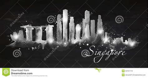 chalk paint cities silhouette chalk singapore stock vector image of lotus