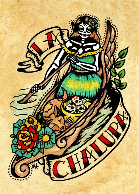 tattoo old school art day of the dead tattoo art la chalupa loteria print 5 x 7 8 x