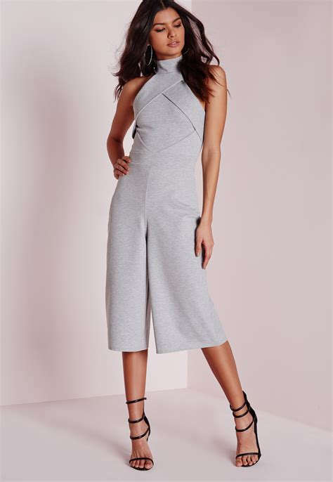Jumpsuit Greya missguided origami culotte jumpsuit grey in gray lyst
