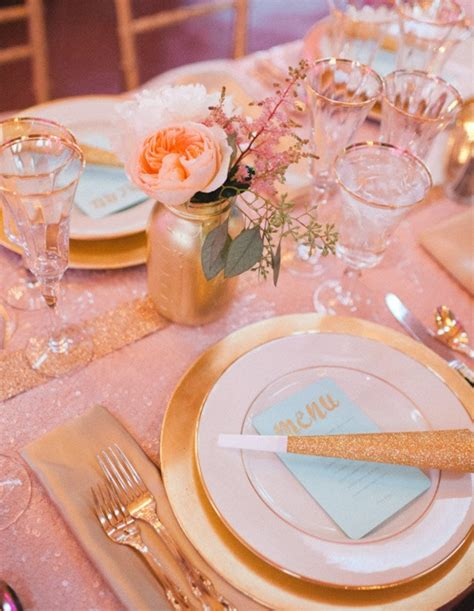 pink table settings gold pink table setting simplified bee