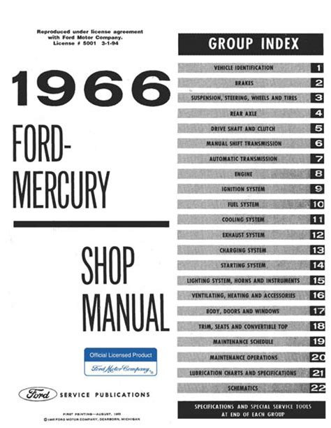 1966 ford small car service manual 1966 ford mercury big car shop manual factory authorized