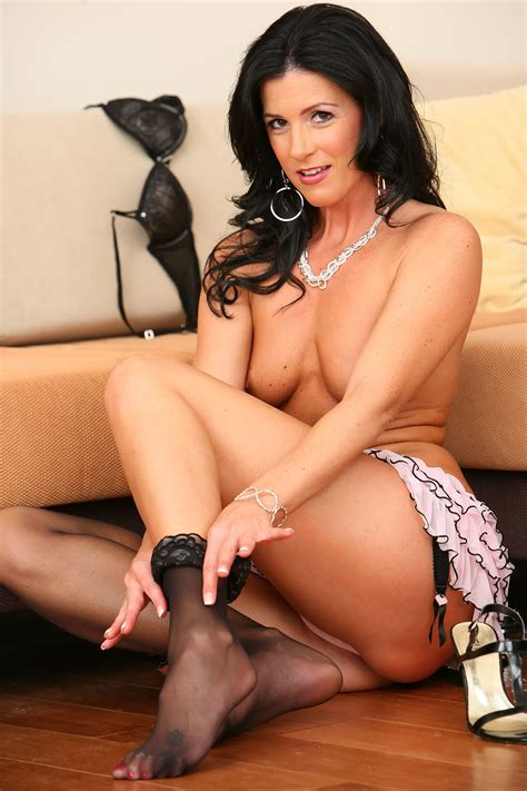 Milf Brunette Off Come The Stockings Too 1077x1616
