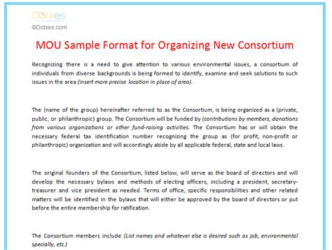 consortium agreement template mou sle format for organizing new consortium dotxes