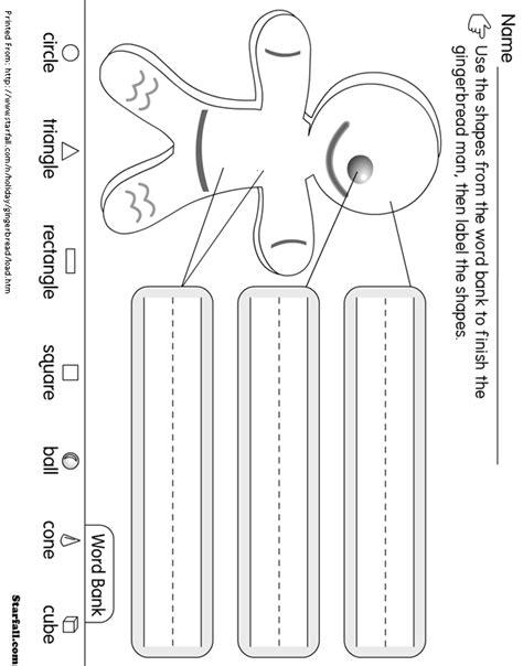 free printable gingerbread man labels online printouts gingerbread man label the shapes