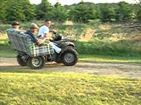 honda foreman atv four wheeler couch ride at ryan's cabin