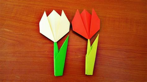 origami stem and leaf make a paper tulip flower with stem and leaf easy origami