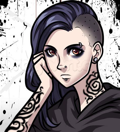 cartoon anime girl half shaved head how to draw a gothic anime girl step by step anime