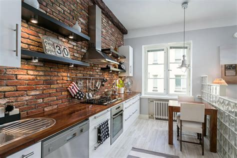 brick wall apartment compact apartment interior design with rustic brick