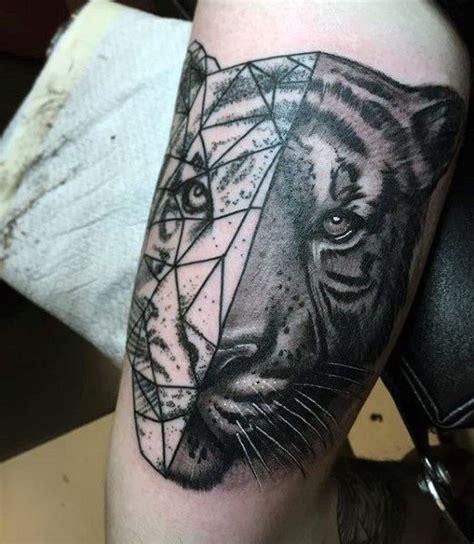 geometric realism tattoo half realism half geometric style black and white shoulder