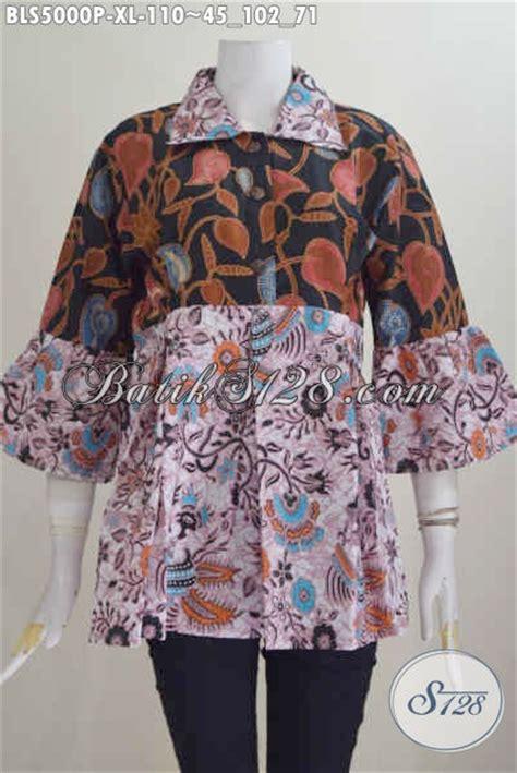 Baju Wanita Keren baju batik model keren kerah lancip dengan kombinasi motif modern classic pakaian batik
