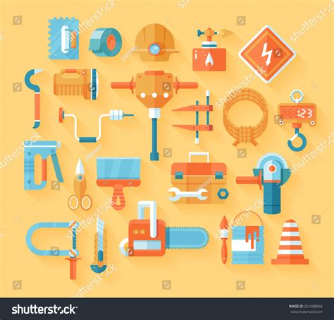 Working Tools Flat Icon Set Stock Vector Image 40282698   working tools icon set flat modern style stock vector