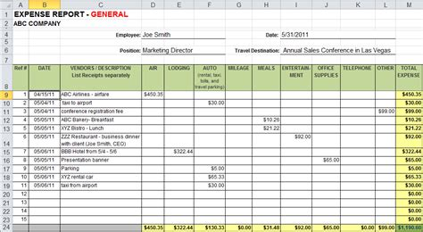 free excel expense report template free business template