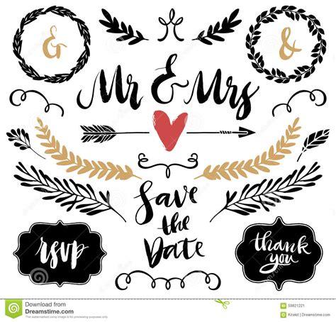Wedding Graphic Set, Arrows, Hearts, Laurel, Wreaths, Curls And Stock Vector   Image: 59821221