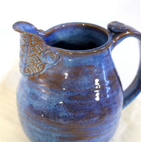 Pottery Pitchers Handmade - pottery pitcher large handmade pitcher blue green
