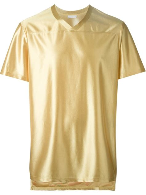 Details T Shirts sankuanz print detail metallic grey t shirt in metallic