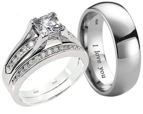 His And Hers Wedding Rings by New His And Hers Titanium 925 Sterling Silver Wedding