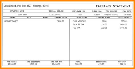 pay stub template pdf free pay stub template pdf autos post
