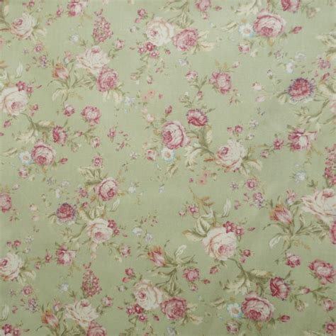 sage green and dusky pink rose floral fabric 100 cotton